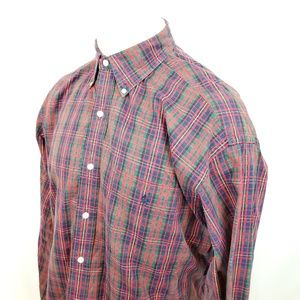 Ralph Lauren Mens Button Front Shirt Sz Medium Red